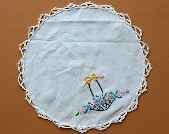 Vintage Doily with Embroidered Flower Basket