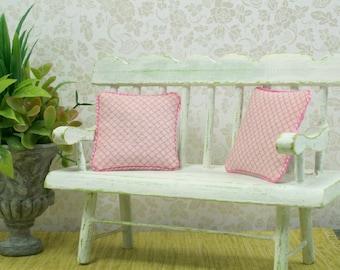 Pink Pillows Shabby Chic Rose Diamond 1:12 Dollhouse Miniatures Artisan