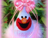 Elmo Birthday Hat, Elmo First Birthday Hat, Elmo 1st Birthday Hat, GINGHAM BUNNY EMBROIDERY