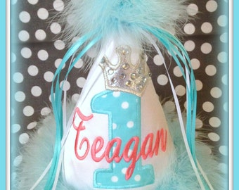 Princess Number/Crown,  Aqua/Coral, First Birthday Hat,  2nd Birthday Hat,  You Choose Colors,      by GINGHAM BUNNY