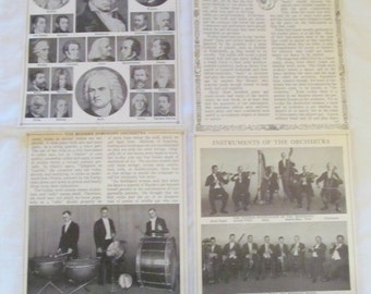 "antique prints ORCHESTRA pages from ""Book of Knowledge"" 1912 (8 pages/4 sheets)"