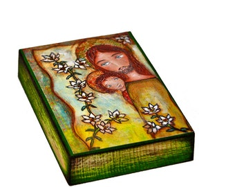 Saint Joseph with Child - ACEO Giclee print mounted on Wood (2.5 x 3.5 inches) Folk Art  by FLOR LARIOS