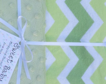 Large Wide Green Chevron and Minky Dot Baby Blanket - 34 X 40