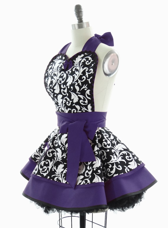 Retro Apron Royal Purple Parisian Womans Aprons By