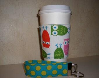Gift Set . Fabric Coffee Cozy . Reversible . Wristlet . Owls - Polkadots