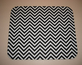 Mouse Pad . Rectangle . Fabric Mousepad . Black and White . Chevron Stripe