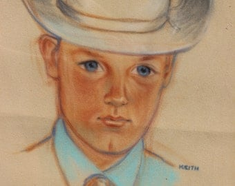 Vintage Pastel By Keith Cow Boy Child in Hat Wearing Bolo Tie Framed Original Art Original Artwork Original Pastel Framed Pastel