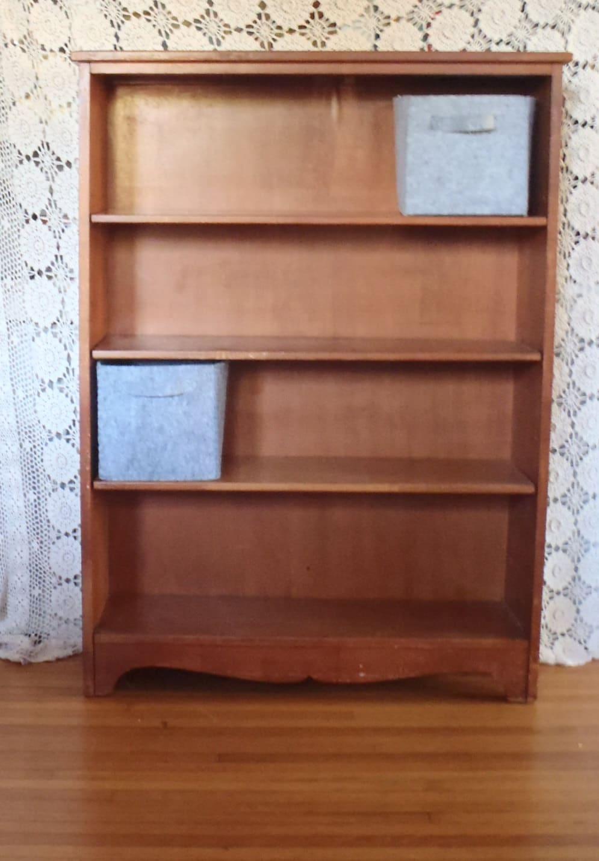 vintage mid century modern wood bookcase. Black Bedroom Furniture Sets. Home Design Ideas