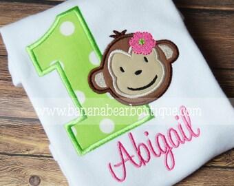 Lime and Pink Mod Monkey  Birthday Shirt