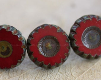 clearance .. CRIMSON DAISY No. 1 .. 6 Premium Picasso Glass Czech Beads 12x5mm (4036-6)
