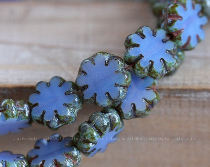 PERIWINKLE POSIES .. 10 Premium Picasso Czech Flower Glass Beads 9x3mm (4134-10)