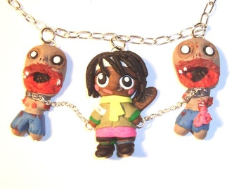 The Walking Dead Michonne and pet zombie necklace IN STOCK