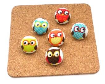Fabric Button Push Pins, Owl, Owl Thumbtack, Office, Thumbtacks, Office Supply, Cork Board, Back to School, Teen Room