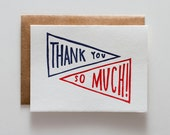 Thanks Pennant Navy - Letterpress Thank You card - CT090