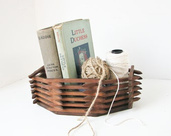 Wood Basket Box, Handmade Planter, Storage, Rustic, Folk Art