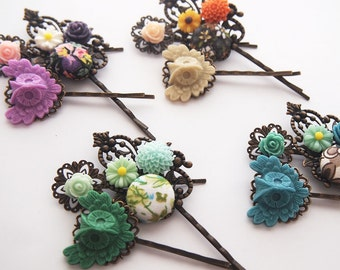Owl Bouquet Hair Pin Set of 3-Owl Bobby Pins-Fashion Accessory-Pretty Patterns-Gifts for Teens-Antique Bronze-Bird Accessory-Bridesmaid Gift
