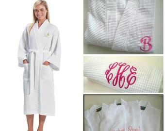 Monogram Waffle Weave Robe Personalized Custom Embroidery Calf Length Long Robe