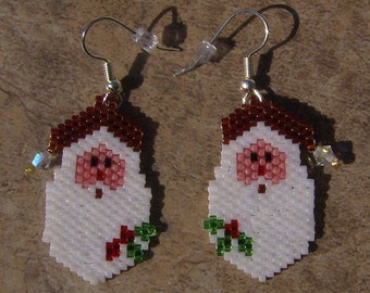 Santa Earrings Hand Made Seed Beaded