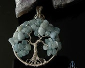 Courage Tree of life- Sterling silver with genuine Aquamarine gemstones pendant