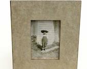 Table Top Easel Frame - Art Photo Mosaic -Tan Handmade Paper - 5x7 Wood Frame - Wedding Gift - Home Decor - Photo Frame - Gift For Him