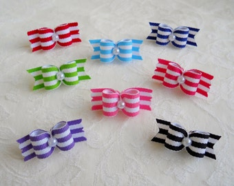 "Dog Bow- 5/8"" Pearl Stripes Dog Bow"