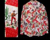 Vintage 80s does 50s cowboy theme novelty print shirt