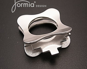Silver layered steps ring: contours of life series