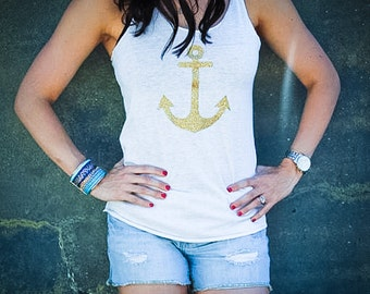 Gold Glitter Anchor Tank Top // Many colors available // Racerback Glitter Tank // Women Tanks