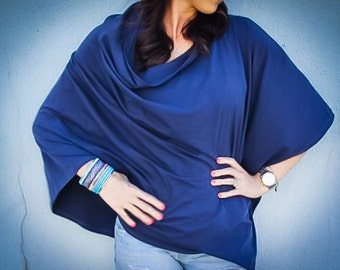 Navy Nursing Cover/ Nursing Poncho/ Full Coverage/ Modern/ Nursing Shawl