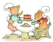 Nursery Art -- Little Mouse Tea -- Art Print