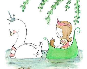 Children's Art -- Swan and Princess -- Archival Print