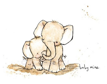 Nursery Art -- BABY MINE ELEPHANT -- Art Print