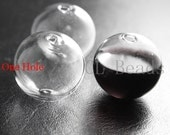 4pcs Hand Blown Hollow Glass Beads-Round Clear with One Hole on the Top 30mm (X-Large) (28H4)