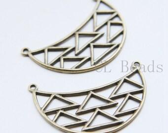 4pcs Antique Brass Base Metal Pendant - Geometry 47x29mm (25443Y-T-123)