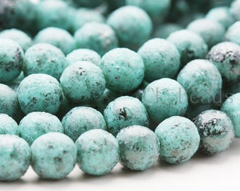25pcs Czech Pressed Glass Round-Black Stone Picasso Turquoise 8mm (TBS6313)(B-19-15)
