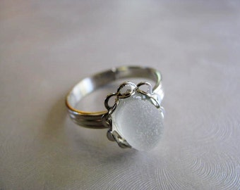 Beach Glass Jewelry - White Sea Glass Ring - Beach Glass Ring - Adjustable Ring