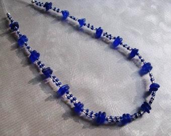 Beach Glass Necklace - Cobalt Blue - Sea Glass Necklace - Beach Glass Jewelry - Beadwork Necklace