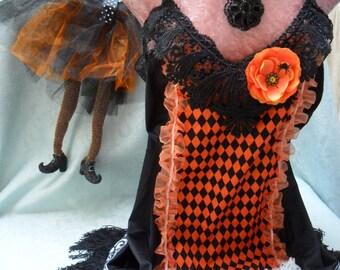 FLAPPER 1920s Gatsby Downton Abbey HALLOWEEN - Vintage Slip Make Over - Black and Orange