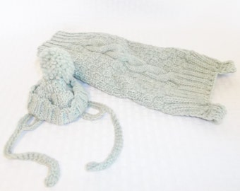 1960's Vintage Blue Green Dog Sweater and Hat Hand Crocheted For Small Dog
