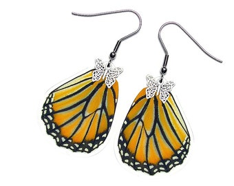 Handmade  Real Butterfly Wing Earrings (Danaus genutia Hindwing   - E061)