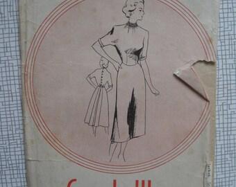 """1950s Frock Dress - 34"""" Bust - Leach-Way 12810 Sewing Pattern"""
