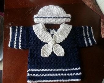 3-6 months boys crochet short sleeve sailor sweater and hat