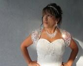 Wedding Bridal Metallic Silver Ribbon Lace Keyhole Back Bolero Shrug Jacket MADE TO ORDER