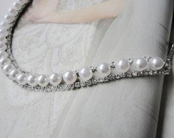 Beautiful Vintage Inspired Wedding Bridal Rhinestone and Pearls Headband