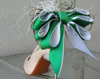 Bridal Formal Sexy Shoe Clips Emerald Green And White Satin Ribbon Bow And Feather More Colors Available