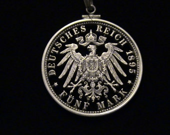 GERMANY - cut coin jewelry - Imperial Eagle - SILVER - 1895 - BEAUTIFUL