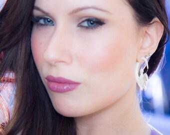 Fake Gauge Earrings Bone Split Gauge Fancy Craved Flower tribal style fake piercings hand carved organic