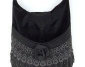 Venise Lace and Black Rose Victorian Bag Messenger Bag Bohemian Black Velvet large bag renaissance bag messenger bag medieval bag