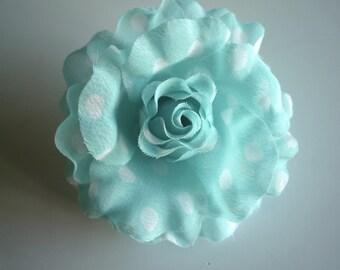 POLKA DOT  Flower,  Aqua blue, white  / FL - 08