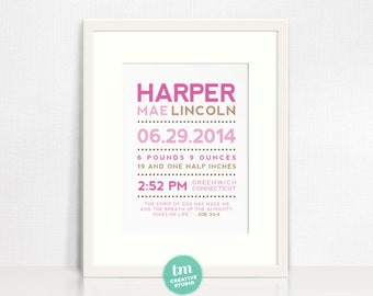 Modern Typography Custom Birth Announcement with Bible Verse // Nursery Print // Birth Stat Poster